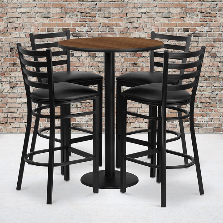Swell Bar Table Stools Round 36 Walnut Bar Table 4 Ladder Back Bar Stools Black Alphanode Cool Chair Designs And Ideas Alphanodeonline