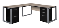 "Structure Desk - L-Shape, 66"" Shell with 42"" Return, Dual Fusion File Cabinets"