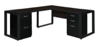 "Structure 72"" x 30"" Double Metal Pedestal L-Desk with 42"" Return - Mocha Walnut/Black"