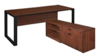 "Structure 66"" x 30"" L-Desk with Laminate Low Credenza - Cherry/Black"