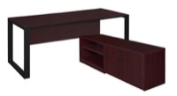 "Structure 66"" x 30"" L-Desk with Laminate Low Credenza - Mahogany/Black"