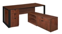 "Structure 66"" x 30"" L-Desk with Laminate Low Credenza with Full Pedestal - Cherry/Black"