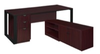 "Structure 66"" x 30"" L-Desk with Laminate Low Credenza with Full Pedestal - Mahogany/Black"
