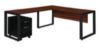 "Structure 66"" x 30"" Single Mobile Pedestal L-Desk with 42"" Return - Cherry/Black"