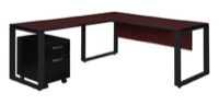 "Structure 66"" x 30"" Single Mobile Pedestal L-Desk with 42"" Return - Mahogany/Black"