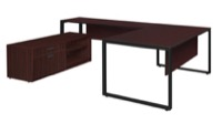"Structure 72"" x 30"" U-Desk with Laminate Low Credenza - Mahogany/Black"