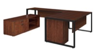 "Structure 72"" x 30"" U-Desk with Laminate Low Credenza and Full Pedestal - Cherry/Black"