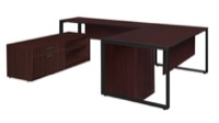 "Structure 72"" x 30"" U-Desk with Laminate Low Credenza and Full Pedestal - Mahogany/Black"