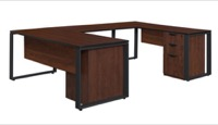"Structure 66"" x 30"" Double Laminate Pedestal U-Desk with 48"" Bridge - Cherry/Black"
