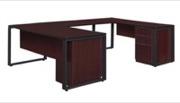 "Structure 66"" x 30"" Double Laminate Pedestal U-Desk with 48"" Bridge - Mahogany/Black"