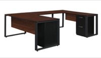 "Structure 66"" x 30"" Double Metal Pedestal U-Desk with 42"" Bridge - Cherry/Black"