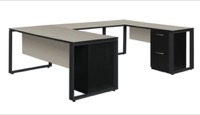"Structure 66"" x 30"" Double Metal Pedestal U-Desk with 42"" Bridge - Maple/Black"