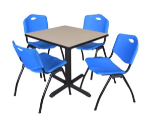 "Cain 30"" Square Breakroom Table - Beige & 4 'M' Stack Chairs - Blue"