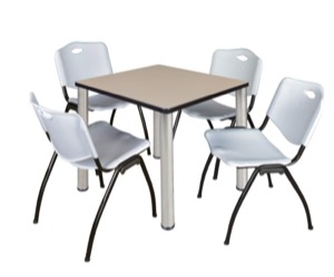 "Kee 30"" Square Breakroom Table - Beige/ Chrome & 4 'M' Stack Chairs - Grey"