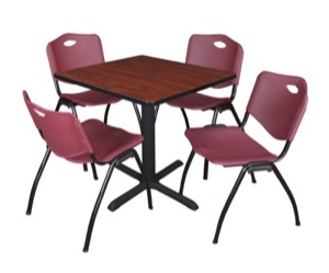 "Cain 30"" Square Breakroom Table - Cherry & 4 'M' Stack Chairs - Burgundy"
