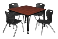 "Kee 30"" Square Height Adjustable  Classroom Table  - Cherry & 4 Andy 12-in Stack Chairs - Black"