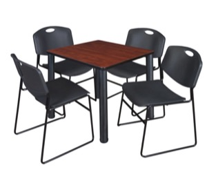 "Kee 30"" Square Breakroom Table - Cherry/ Black & 4 Zeng Stack Chairs - Black"