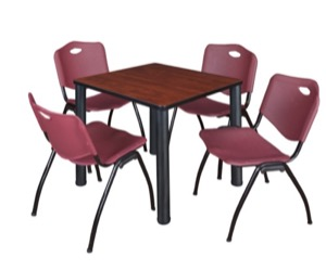"Kee 30"" Square Breakroom Table - Cherry/ Black & 4 'M' Stack Chairs - Burgundy"