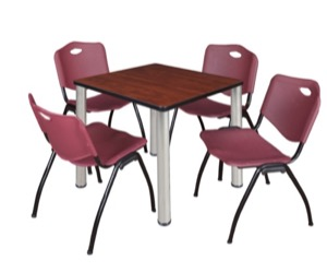 "Kee 30"" Square Breakroom Table - Cherry/ Chrome & 4 'M' Stack Chairs - Burgundy"