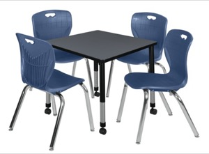 "Kee 30"" Square Height Adjustable Mobile Classroom Table  - Grey &  4 Andy 18-in Stack Chairs - Navy Blue"