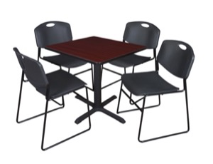 "Cain 30"" Square Breakroom Table - Mahogany & 4 Zeng Stack Chairs - Black"