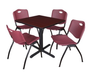 "Cain 30"" Square Breakroom Table - Mahogany & 4 'M' Stack Chairs - Burgundy"