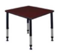 "Kee 30"" Square Height Adjustable Classroom Table  - Mahogany"