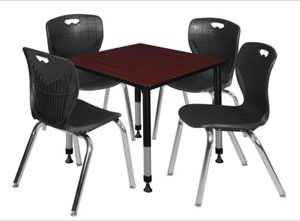 "Kee 30"" Square Height Adjustable Classroom Table  - Mahogany & 4 Andy 18-in Stack Chairs - Black"