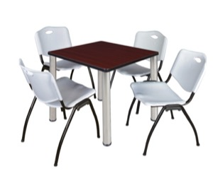"Kee 30"" Square Breakroom Table - Mahogany/ Chrome & 4 'M' Stack Chairs - Grey"