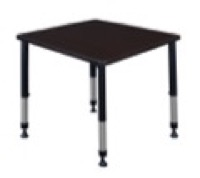 "Kee 30"" Square Height Adjustable Classroom Table  - Mocha Walnut"