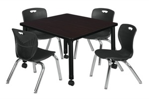 "Kee 30"" Square Height Adjustable Mobile Classroom Table  - Mocha Walnut & 4 Andy 12-in Stack Chairs - Black"