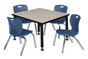 "Kee 30"" Square Height Adjustable Classroom Table  - Maple & 4 Andy 12-in Stack Chairs - Navy Blue"