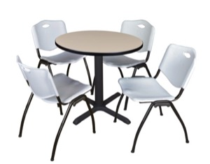 "Cain 30"" Round Breakroom Table - Beige & 4 'M' Stack Chairs - Grey"