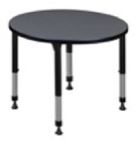 "Kee 30"" Round Height Adjustable Classroom Table  - Grey"