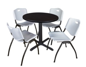 "Cain 30"" Round Breakroom Table - Mocha Walnut & 4 'M' Stack Chairs - Grey"