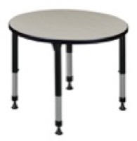 "Kee 30"" Round Height Adjustable Classroom Table  - Maple"