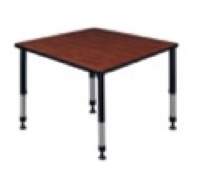"Kee 36"" Square Height Adjustable Classroom Table  - Cherry"