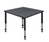 "Kee 36"" Square Height Adjustable Classroom Table  - Grey"