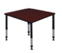 "Kee 36"" Square Height Adjustable Classroom Table  - Mahogany"