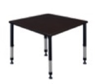 "Kee 36"" Square Height Adjustable Classroom Table  - Mocha Walnut"