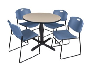 "Cain 36"" Round Breakroom Table - Beige & 4 Zeng Stack Chairs - Blue"