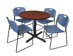 "Cain 36"" Round Breakroom Table - Cherry & 4 Zeng Stack Chairs - Blue"