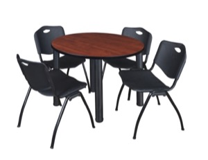 "Kee 36"" Round Breakroom Table - Cherry/ Black & 4 'M' Stack Chairs - Black"