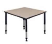 "Kee 42"" Square Height Adjustable Classroom Table  - Beige"