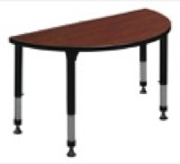 "42"" x 21"" Half Round Height Adjustable Classroom Table - Cherry"