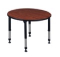 "Kee 42"" Round Height Adjustable Classroom Table  - Cherry"