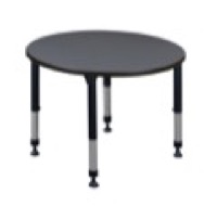 "Kee 42"" Round Height Adjustable Classroom Table  - Grey"
