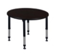 "Kee 42"" Round Height Adjustable Classroom Table  - Mocha Walnut"