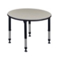 "Kee 42"" Round Height Adjustable Classroom Table  - Maple"