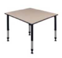 "Kee 48"" Square Height Adjustable Classroom Table  - Beige"
